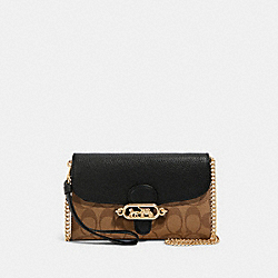COACH 88101 Chain Crossbody In Signature Canvas IM/KHAKI/BLACK