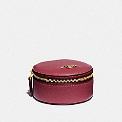 COACH 88106 - ROUND JEWELERY CASE BRASS/DUSTY PINK