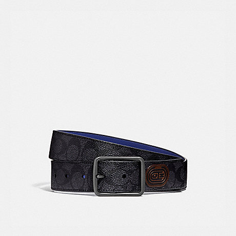 COACH 88138 HARNESS BUCKLE CUT-TO-SIZE REVERSIBLE BELT WITH COACH PATCH, 38MM CHARCOAL/SPORT BLUE