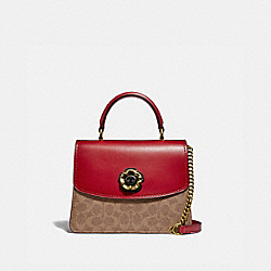 COACH 88202 Parker Top Handle In Signature Canvas B4/TAN RED APPLE