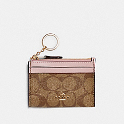 COACH 88208 Mini Skinny Id Case In Signature Canvas IM/KHAKI BLOSSOM