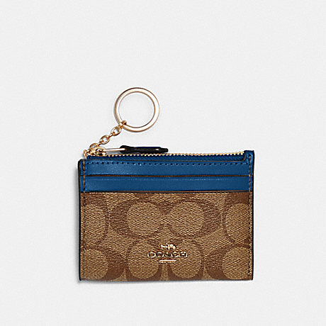COACH 88208 MINI SKINNY ID CASE IN SIGNATURE CANVAS IM/KHAKI DEEP ATLANTIC