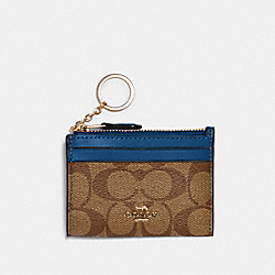 COACH 88208 - MINI SKINNY ID CASE IN SIGNATURE CANVAS IM/KHAKI DEEP ATLANTIC