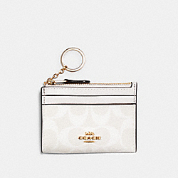 COACH 88208 Mini Skinny Id Case In Signature Canvas IM/CHALK/GLACIERWHITE