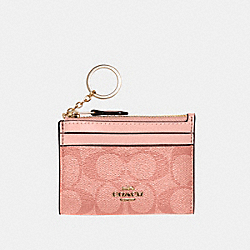COACH 88208 Mini Skinny Id Case In Signature Canvas IM/CANDY PINK