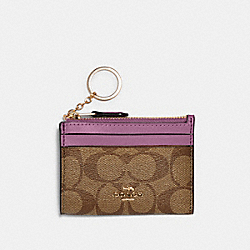 COACH 88208 Mini Skinny Id Case In Signature Canvas IM/KHAKI/LILAC BERRY