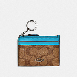 COACH 88208 - MINI SKINNY ID CASE IN SIGNATURE CANVAS SV/KHAKI/AQUA