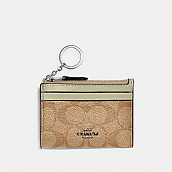 COACH 88208 Mini Skinny Id Case In Signature Canvas SV/LIGHT KHAKI/PALE GREEN