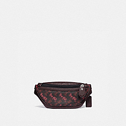 COACH 88215 Rivington Belt Bag 7 With Horse And Carriage Print LH/BLACK RED
