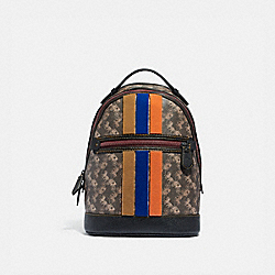 COACH 88266 Barrow Backpack With Horse And Carriage Print And Varsity Stripe PEWTER/BROWN BLACK