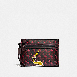 COACH 88275 Academy Pouch With Horse And Carriage Print And Rocket BLACK/RED
