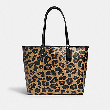 COACH 88319 REVERSIBLE CITY TOTE WITH ANIMAL PRINT IM/BLACK NATURAL