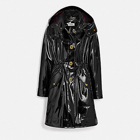 COACH RAINCOAT WITH HORSE AND CARRIAGE PRINT LINING - BLACK - 88380