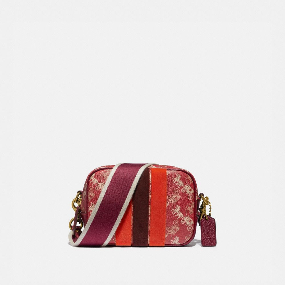 LUNAR NEW YEAR CAMERA BAG 16 WITH HORSE AND CARRIAGE PRINT AND VARSITY STRIPE