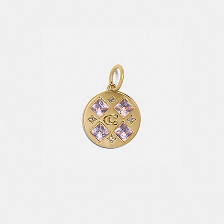 COACH 88522 COLLECTIBLE CRYSTAL SIGNATURE DISC CHARM GOLD/PINK