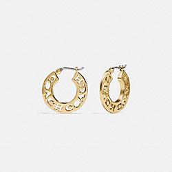 COACH 88529 - PIERCED COACH HOOP EARRINGS GOLD