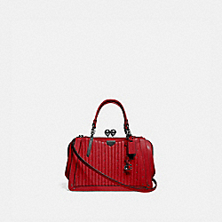 COACH 88543 Kisslock Dreamer 21 With Quilting And Rivets PEWTER/RED APPLE