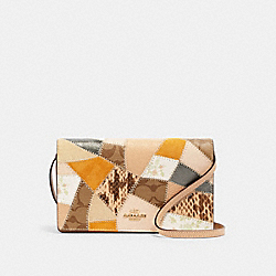 HAYDEN FOLDOVER CROSSBODY CLUTCH WITH SIGNATURE CANVAS PATCHWORK - 88670 - IM/CHALK MULTI