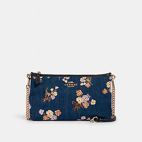 COACH 88681 ZIP TOP CROSSBODY WITH PAINTED FLORAL BOX PRINT IM/DENIM-MULTI