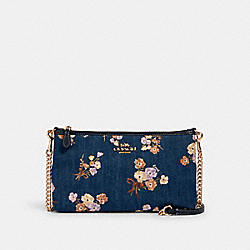 ZIP TOP CROSSBODY WITH PAINTED FLORAL BOX PRINT - 88681 - IM/DENIM MULTI