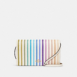 HAYDEN FOLDOVER CROSSBODY CLUTCH WITH OMBRE QUILTING - 88694 - IM/CHALK MULTI