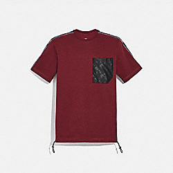COACH 88699 - HORSE AND CARRIAGE POCKET T-SHIRT BURGUNDY