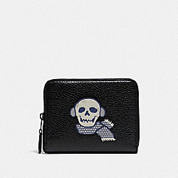 COACH 88709 - SMALL ZIP AROUND WALLET WITH BONESY GUNMETAL/BLACK