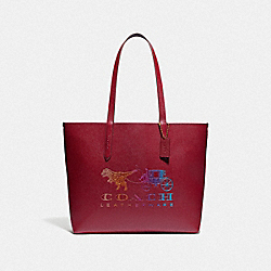 COACH 88774 - HIGHLINE TOTE WITH REXY AND CARRIAGE BRASS/DEEP RED MULTI