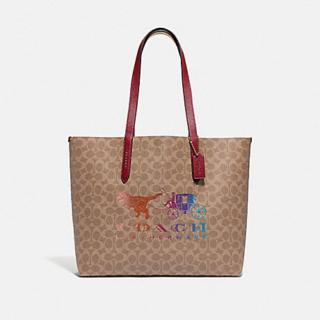 COACH 88775 HIGHLINE TOTE IN SIGNATURE CANVAS WITH REXY AND CARRIAGE BRASS/TAN-DEEP-RED-MULTI