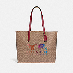 COACH 88775 Highline Tote In Signature Canvas With Rexy And Carriage BRASS/TAN DEEP RED MULTI