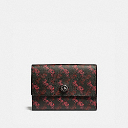 POUCH WITH HORSE AND CARRIAGE PRINT - 88786 - BLACK/RED