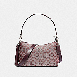 LEWIS SHOULDER BAG IN SIGNATURE JACQUARD - 88899 - SV/RASPBERRY