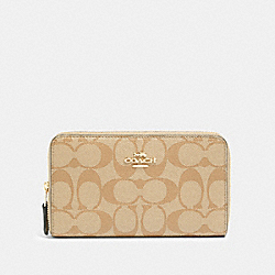 COACH 88913 Medium Zip Around Wallet In Signature Canvas IM/LIGHT KHAKI CHALK