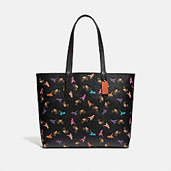 COACH 89027 - HIGHLINE TOTE WITH REXY AND CARRIAGE PRINT PEWTER/BLACK MULTI