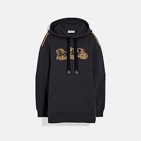 COACH 89028 OVERSIZED HORSE AND CARRIAGE HOODIE BLACK