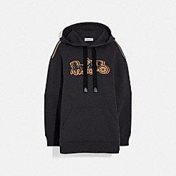 OVERSIZED HORSE AND CARRIAGE HOODIE - 89028 - BLACK