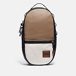 PACER BACKPACK IN COLORBLOCK WITH COACH PATCH - 89045 - BLACK COPPER/BROWN MULTI