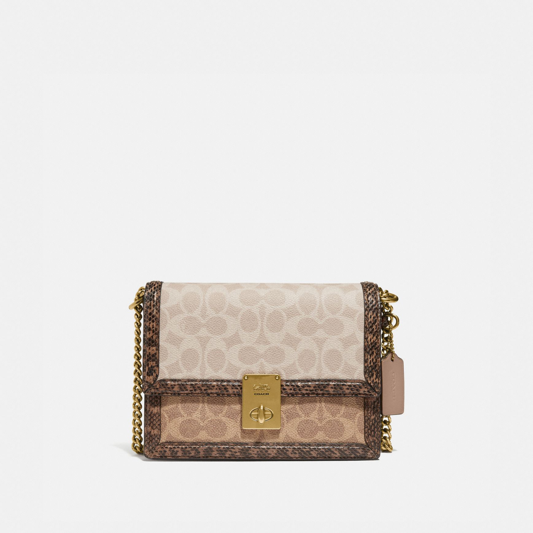 COACH HUTTON SHOULDER BAG IN BLOCKED SIGNATURE CANVAS WITH SNAKESKIN DETAIL HKD 5,950