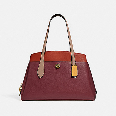 COACH 89086 LORA CARRYALL IN COLORBLOCK B4/TAUPE RED SAND MULTI