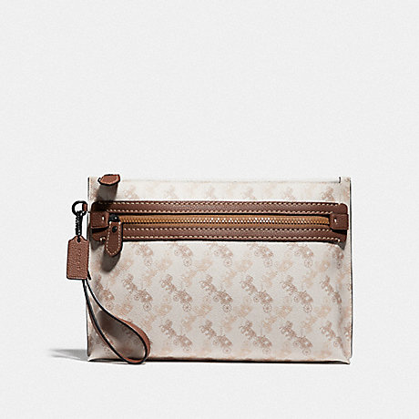 COACH ACADEMY POUCH WITH HORSE AND CARRIAGE PRINT - CHALK - 89185