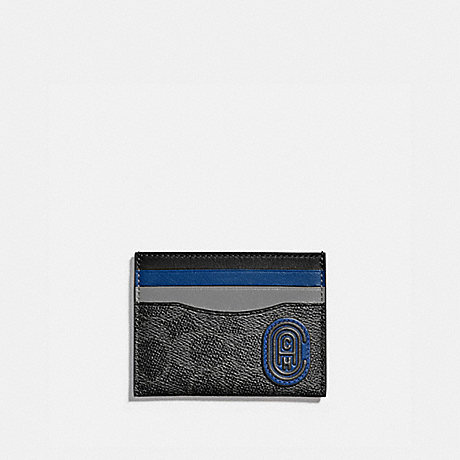 COACH 89210 CARD CASE IN COLORBLOCK SIGNATURE CANVAS WITH COACH PATCH CHARCOAL/DEEP SKY