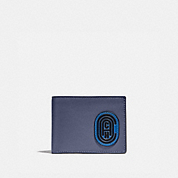 COACH 89238 Slim Billfold Wallet In Colorblock With Coach Patch DEEP SKY/BLUE MIST
