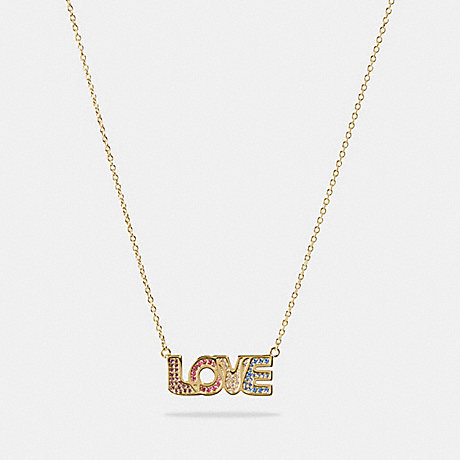 COACH 89246 BOXED LOVE NECKLACE GOLD/MULTI