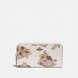 COACH 89302 - ACCORDION ZIP WALLET WITH FLORAL BOUQUET PRINT BRASS/CHALK