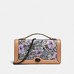 COACH 89395 Riley Chain Clutch With Heritage Floral Print PEWTER/SOFT LILAC MULTI