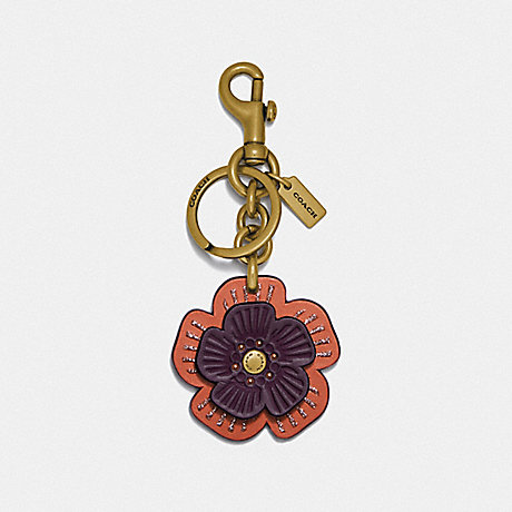COACH 89407 TEA ROSE BAG CHARM BRASS/OAK MULTI