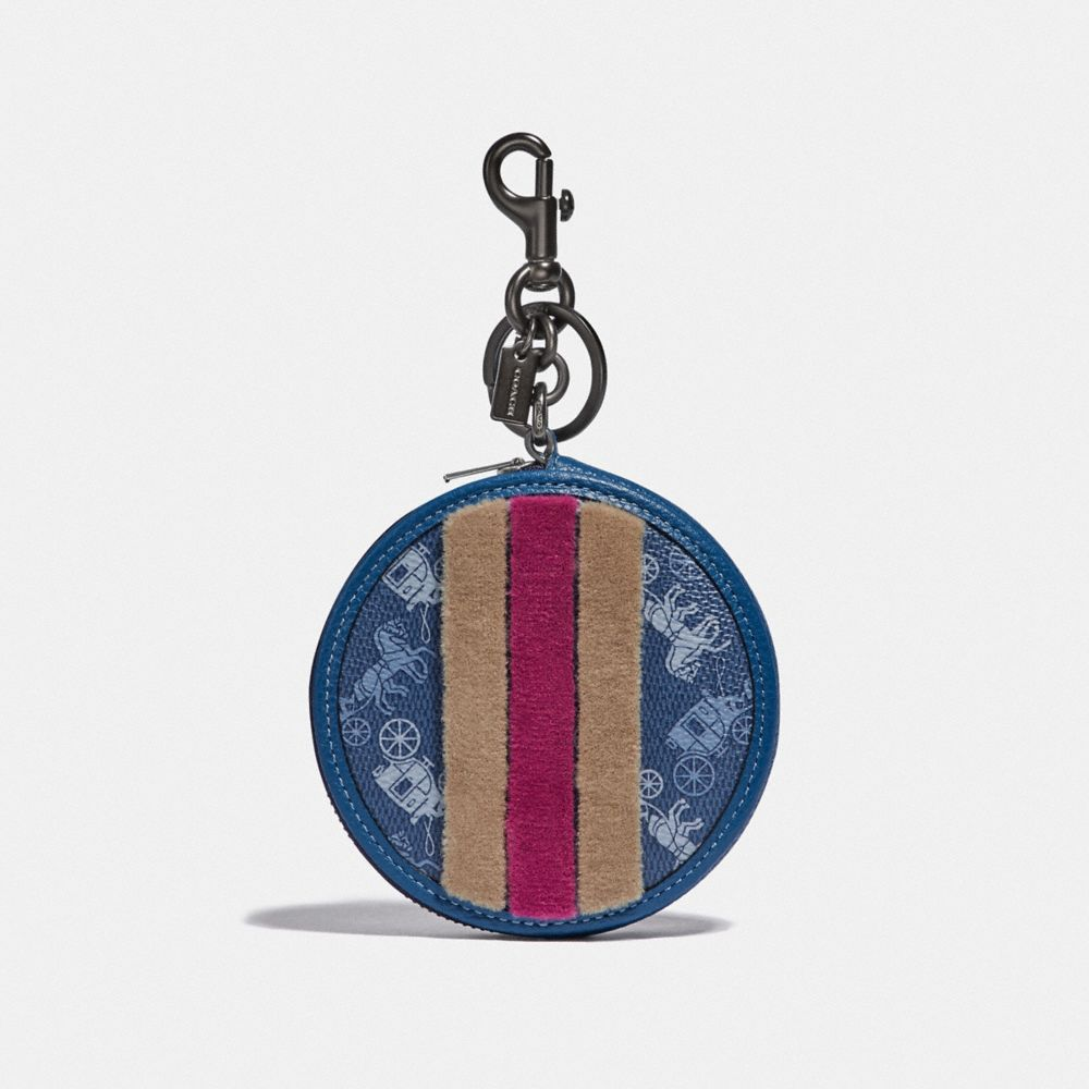 COIN CASE BAG CHARM WITH HORSE AND CARRIAGE PRINT AND VARSITY STRIPE
