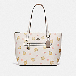 COACH 89472 Taylor Tote With Pansy Print GD/CHALK