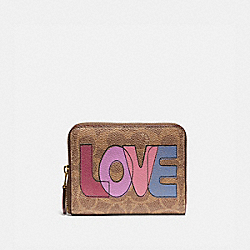 COACH 89564 - SMALL ZIP AROUND WALLET IN SIGNATURE CANVAS WITH LOVE PRINT B4/TAN PINK MULTI