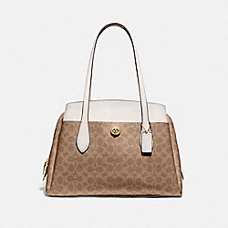 LORA CARRYALL IN SIGNATURE CANVAS - 89576 - BRASS/TAN CHALK